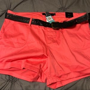 Torrid Coral Cuffed Shorts withBelt